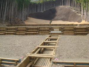 間伐材二重井桁枠工 水路工