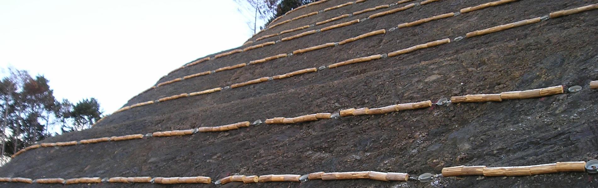 ウッド筋工 間伐材を利用した法面緑化基礎工